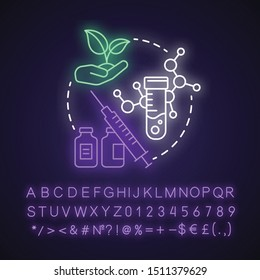 Mutation breeding neon light concept icon. Bioengineering and biotechnology idea. Genetical modification and selection. Glowing sign with alphabet, numbers and symbols. Vector isolated illustration