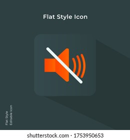 Mute button. Volume mute, audio mute icon. Music speaker volume icon. Sound off icon vector illustration in flat style for using in mobile, website, ui design. Trendy lush lava color.