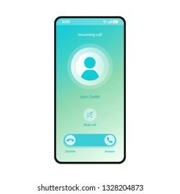 Mute call smartphone interface vector template. Mobile app page blue gradient design layout. Incoming call, voicemail screen. Flat UI for application. Decline, answer buttons. Phone display