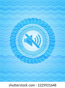 mute icon inside light blue water style badge.