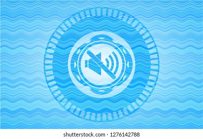 mute icon inside water concept style emblem.
