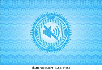 mute icon inside water wave representation style badge.