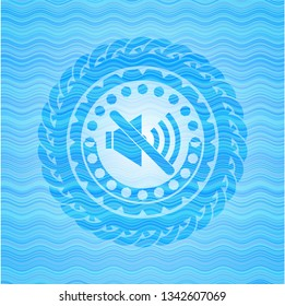 mute icon inside water wave style emblem.