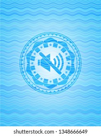 mute icon inside water wave representation badge background.
