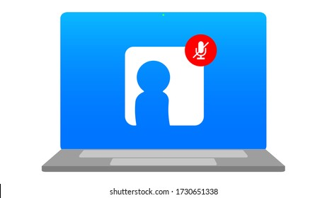 Mute Microphone, Online Meeting Notebook, Video Conference Webinars or Remote Working Icon Symbol Illustration
