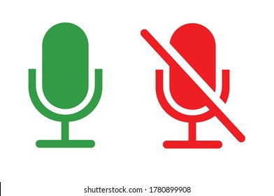 Mute and unmute audio microphone flat vector icons for video apps and websites. Can be used for Web, Mobile, Infographic and Print. EPS 10 Vector illustration.