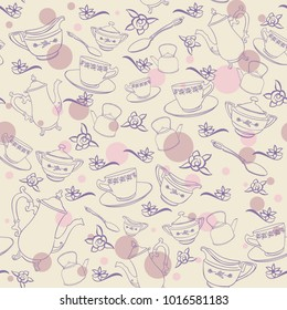 muted seamless tea party vector background pattern teacups polka dots teapots beige purple pink