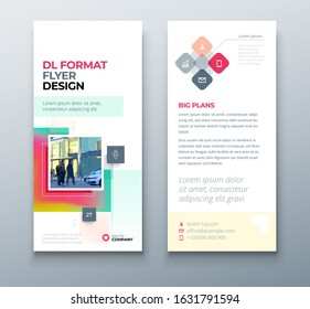 Muticolor DL Flyer design with square shapes, corporate business template for dl flyer. Creative concept flyer or banner layout. Set - GB075.