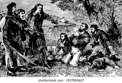 The mutineers overpowered, this scene shows three men pointing guns and sword towards people sitting on ground in front of them, vintage line drawing or engraving illustration