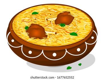 Mutton Biryani Indian Non Veg Food Vector