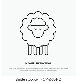 Mutton, Ram, Sheep, Spring Line Icon Vector