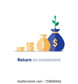 Mutual fund, financial performance, statistic report, income increase, return on investment, finance consolidation, budget planning, income growth concept, vector flat icon