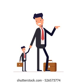 Mutual two businessmen or managers. The big man helps a little. Mentor, coach and teacher. Vector, illustration EPS10.