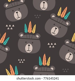 Muzzle of bears with feathers, hand drawn backdrop. Colorful seamless pattern with muzzles of animals. Wallpaper, good for printing. Overlapping background vector. Design illustration, indians