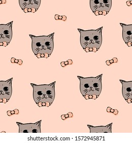Muzzle of cats with bows on a coral background. Seamless pattern.