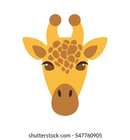 muzzle giraffe in cartoon style, is insulated on white background. easy to use.