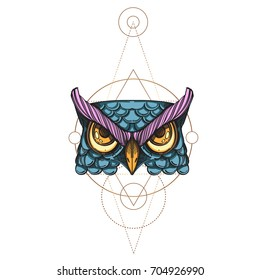 Muzzle of an owl illustration for creating sketches of tattoos, printing on clothes, design of posters and leaflets.