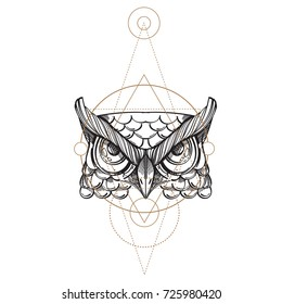 owl sketch images stock photos vectors shutterstock Hummingbird Pencil Drawings muzzle of an owl illustration for creating sketches of tattoos printing on clothes design