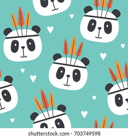 Muzzle of pandas and hearts, hand drawn backdrop. Colorful seamless pattern with muzzles of animals. Decorative wallpaper, good for printing. Overlapping background vector. Design illustration