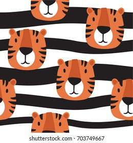 Muzzle of tigers hand drawn backdrop. Colorful seamless pattern with muzzles of animals. Decorative cute wallpaper, good for printing. Overlapping background vector. Design illustration