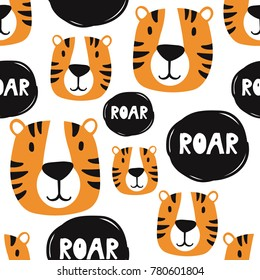 Muzzle of tigers, hand drawn backdrop. Colorful seamless pattern with muzzles of animals. Decorative cute wallpaper, good for printing. Overlapping background vector. Design illustration, roar