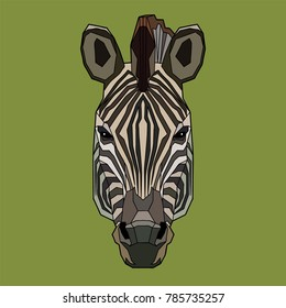 Muzzle of a zebra in full face. The head of an animal on an olive-green background. Polygonal stylization. Vector illustration.