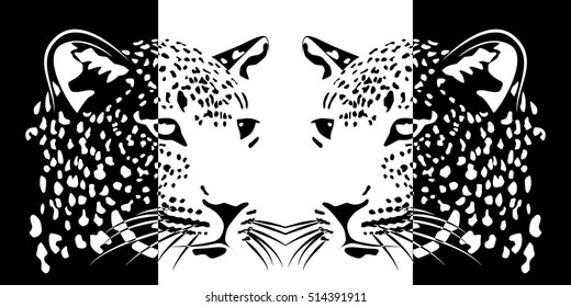 Muzzles of leopards. positive and negative