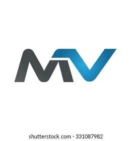 MV company linked letter logo blue