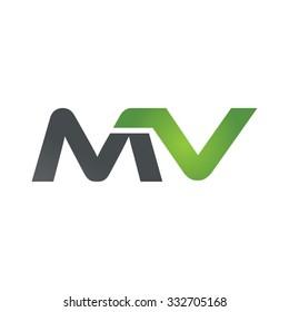 MV company linked letter logo green