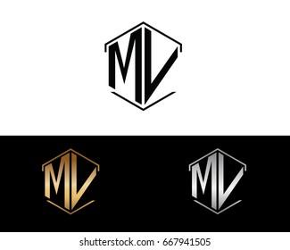MV hexagon shape initial letter logo
