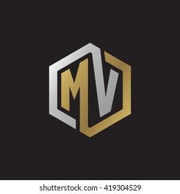 MV initial letters looping linked hexagon elegant logo golden silver black background