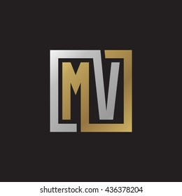 MV initial letters looping linked square elegant logo golden silver black background