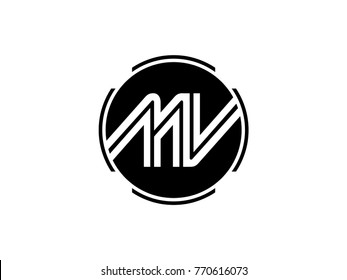 MV letter logo round black
