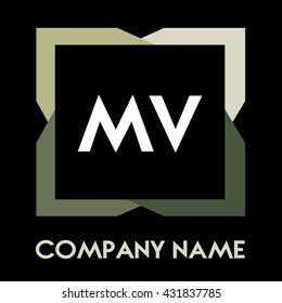 MV letters business logo creative  icon design template elements in abstract background logo, design identity in square with four colors, modern alphabet letters