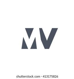 MV Logo. Vector Graphic Branding Letter Element. White Background