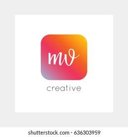 MV logo, vector. Useful as branding, app icon, alphabet combination, clip-art.
