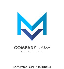MV logo, VM logo, initial name business logo template