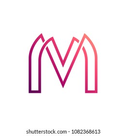MV Logo, VM Logo, Letter M And Letter V In Unity With Mono Line Style, Logo template Ready For Use