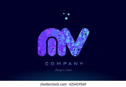 mv m v alphabet pink blue bubble circle dots creative letter company logo vector icon design template