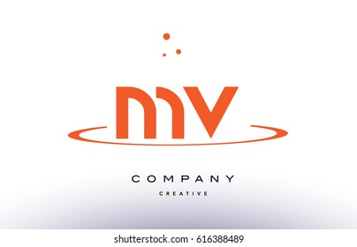 MV M V creative orange swoosh dots alphabet company letter logo design vector icon template