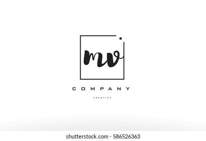 mv m v hand writing written black white alphabet company letter logo square background small lowercase design creative vector icon template