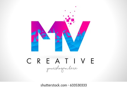 MV M V Letter Logo with Broken Shattered Blue Pink Triangles Texture Design Vector Illustration.