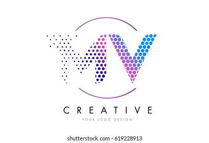 MV M V Pink Magenta Dotted Bubble Letter Logo Design. Dots Lettering Vector Illustration