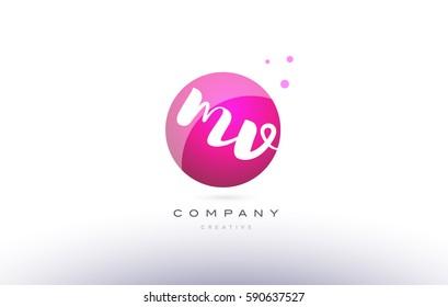 mv m v  sphere pink 3d alphabet company letter combination logo hand writting written design vector icon template