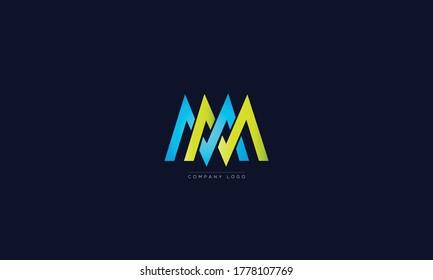 MV or MM letters Logo Alphabet  Design Vector Symbol