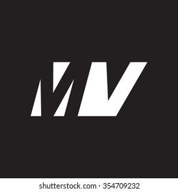 MV negative space letter logo black background