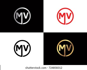 MV text gold black silver modern creative alphabet letter logo design vector icon