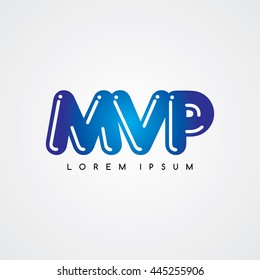 mvp initial letter linked uppercase logo black red in white background