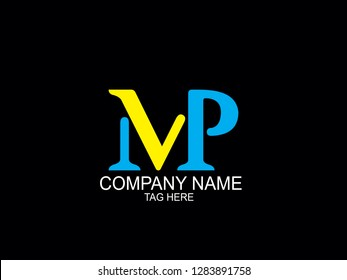 mvp initial letter Logo, uppercase, blue, black and yellow background