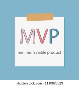 MVP minimum viable product written in a notebook paper- vector illustration
